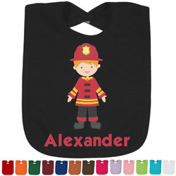 Firefighter Character Cotton Baby Bib - 14 Bib Colors (Personalized)