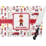 Firefighter Character Rectangular Glass Cutting Board (Personalized)