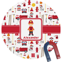 Firefighter for Kids Round Magnet (Personalized)