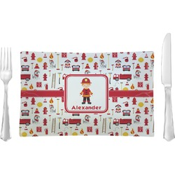 Firefighter for Kids Rectangular Glass Lunch / Dinner Plate - Single or Set (Personalized)