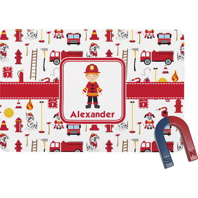 Firefighter Character Rectangular Fridge Magnet w/ Name or Text