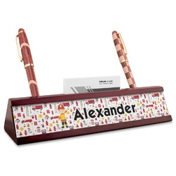 Firefighter for Kids Red Mahogany Nameplate with Business Card Holder (Personalized)