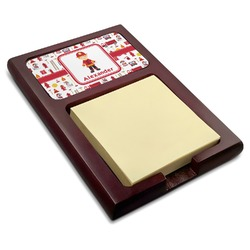 Firefighter Character Red Mahogany Sticky Note Holder w/ Name or Text