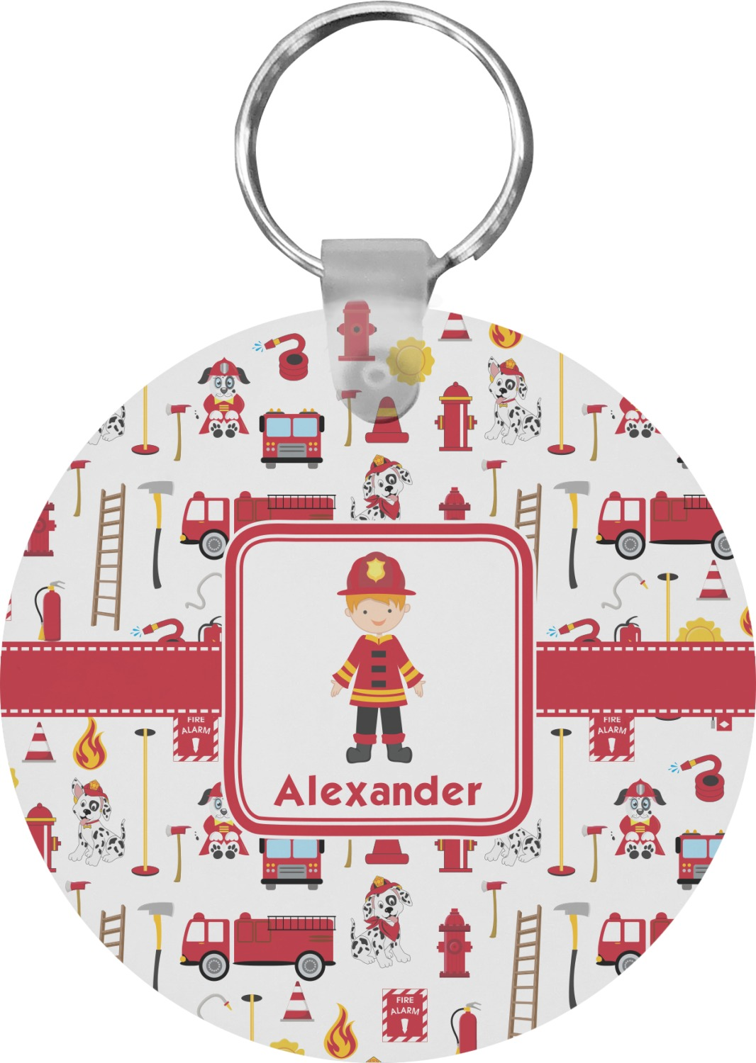 Personalized firefighter ornaments - Firefighter Round Keychain Personalized