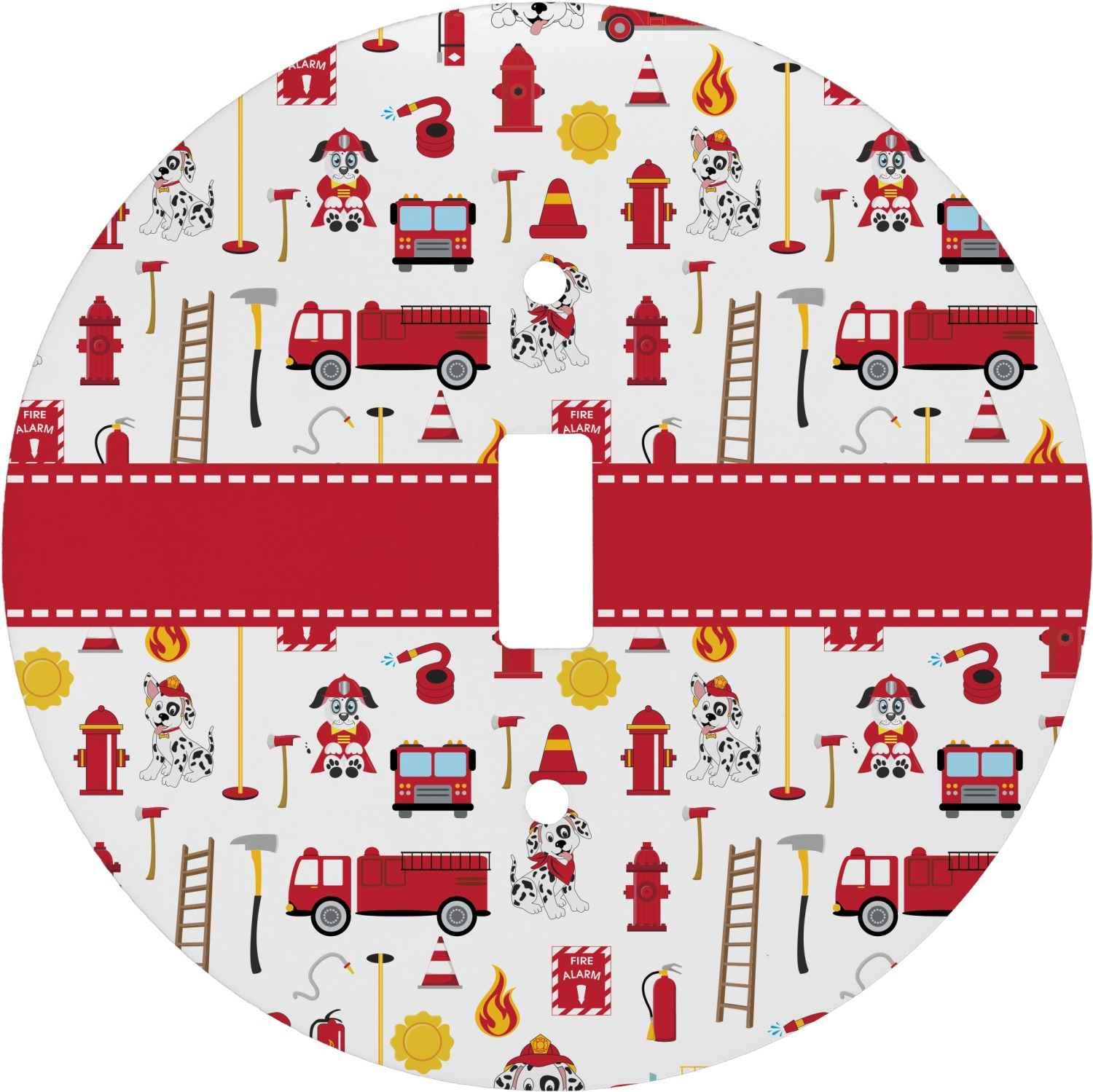 Firefighter For Kids Round Light Switch Cover Personalized
