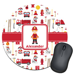 Firefighter Character Round Mouse Pad (Personalized)