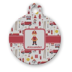 Firefighter Round Pet Tag (Personalized)