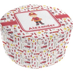 Firefighter for Kids Round Pouf Ottoman (Personalized)