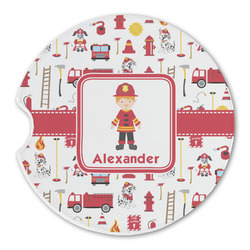 Firefighter for Kids Sandstone Car Coaster - Single (Personalized)