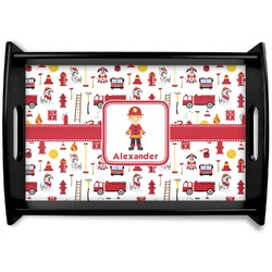 Firefighter Black Wooden Tray (Personalized)