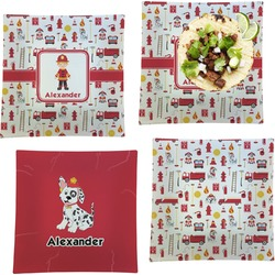 """Firefighter for Kids Set of 4 Glass Square Lunch / Dinner Plate 9.5"""" (Personalized)"""