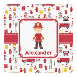 Firefighter Character Square Decal (Personalized)