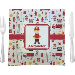 "Firefighter for Kids Glass Square Lunch / Dinner Plate 9.5"" - Single or Set of 4 (Personalized)"