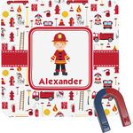 Firefighter Square Fridge Magnet (Personalized)