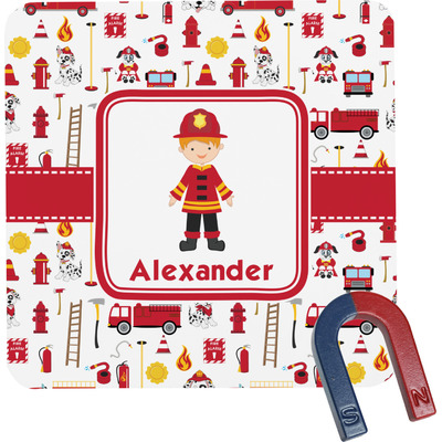 Firefighter Character Square Fridge Magnet w/ Name or Text