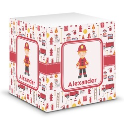 Firefighter Character Sticky Note Cube w/ Name or Text