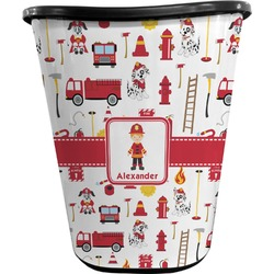 Firefighter for Kids Waste Basket - Double Sided (Black) (Personalized)