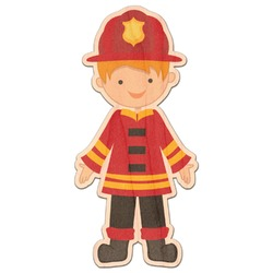 Firefighter Character Genuine Maple or Cherry Wood Sticker (Personalized)
