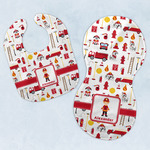 Firefighter Character Baby Bib & Burp Set w/ Name or Text