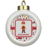 Firefighter Character Ceramic Ball Ornament (Personalized)