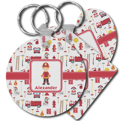Firefighter Character Plastic Keychains (Personalized)