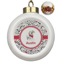 Dalmation Ceramic Ball Ornaments - Poinsettia Garland (Personalized)