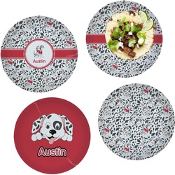"""Dalmation Set of 4 Glass Lunch / Dinner Plate 10"""" (Personalized)"""