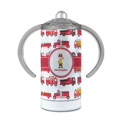 Firetrucks 12 oz Stainless Steel Sippy Cup (Personalized)