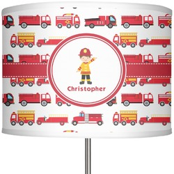 "Firetrucks 13"" Drum Lamp Shade (Personalized)"