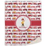 Firetrucks Sherpa Throw Blanket (Personalized)