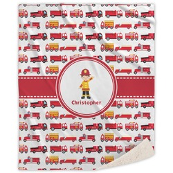 Firetrucks Sherpa Throw Blanket (Personalized)
