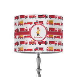 """Firetrucks 8"""" Drum Lamp Shade - Poly-film (Personalized)"""