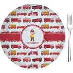 "Firetrucks Glass Appetizer / Dessert Plates 8"" - Single or Set (Personalized)"