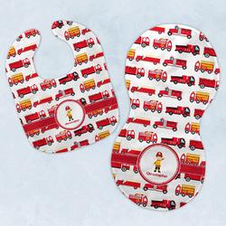 Firetrucks Baby Bib & Burp Set w/ Name or Text