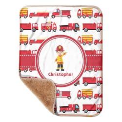 "Firetrucks Sherpa Baby Blanket 30"" x 40"" (Personalized)"