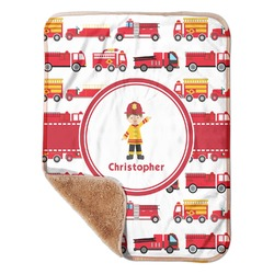 "Firetrucks Sherpa Baby Blanket 30"" x 40"" (Personalized)"