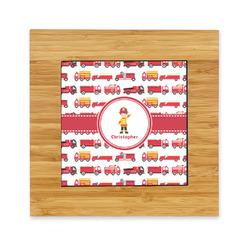 Firetrucks Bamboo Trivet with Ceramic Tile Insert (Personalized)
