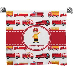 Firetrucks Full Print Bath Towel (Personalized)