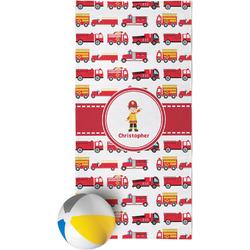 Firetrucks Beach Towel (Personalized)
