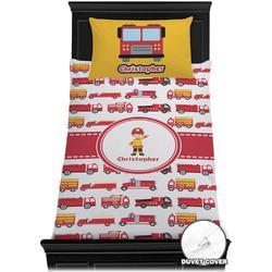 Firetrucks Duvet Cover Set - Twin XL (Personalized)