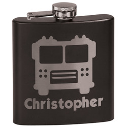Firetrucks Black Flask Set (Personalized)