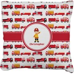 Firetrucks Faux-Linen Throw Pillow (Personalized)