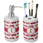 Firetrucks Bathroom Accessories Set (Ceramic) (Personalized)