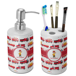 Firetrucks Bathroom Accessories Set (Ceramic) (Personalized)