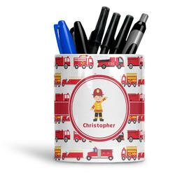 Firetrucks Ceramic Pen Holder
