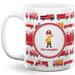 Firetrucks 11 Oz Coffee Mug - White (Personalized)