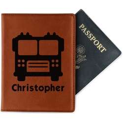 Firetrucks Leatherette Passport Holder (Personalized)