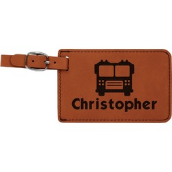 Firetrucks Leatherette Luggage Tag (Personalized)