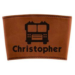 Firetrucks Leatherette Mug Sleeve (Personalized)