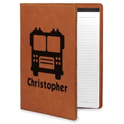Firetrucks Leatherette Portfolio with Notepad (Personalized)